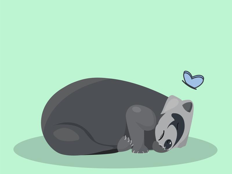 Sweet Dreams мило design сон енот vector illustration