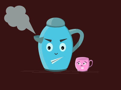 Angry teapot cup teapot illustration vector illustraion
