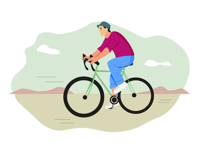 Bicycle man pink blue bicicling illustration man bicicle vector