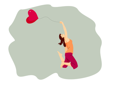 Girl with a balloon illustration valentine day heart balloon vetor grafic vector girl