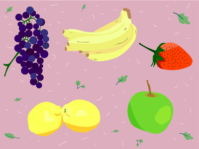 Fruit grapes strawberry lemon apple bananas food fruit vector illustration