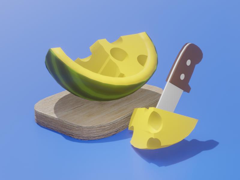 Cheesy Watermelon cute branding colorful clean twinbrosco render design blender 3d illustration 3d