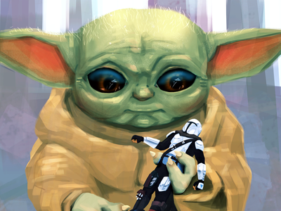 Grogu (aka Baby Yoda) with his Favorite Action Figure photoshop illustration star wars grogu baby yoda mandalorian
