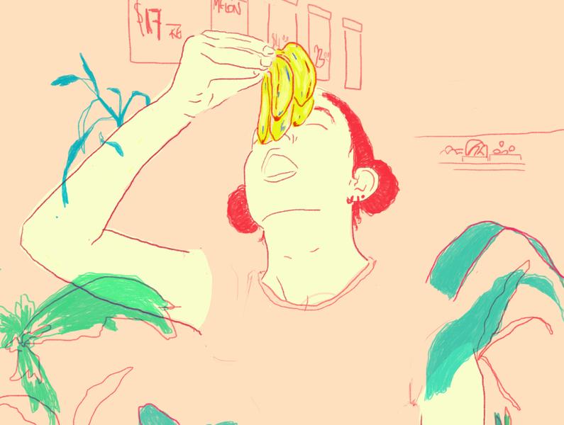 Bananas tropical colors digital illustration self portrait design illustration