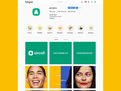 Aircall Manifesto Instagram Take Over scroll feed photography brand design branding aircall graphic design take over grid instagram