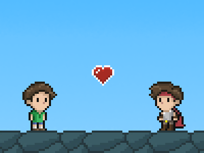 HeartQuest Hero 8 16 bit retro game sprite heart quest pixel