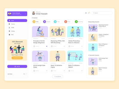 Elearning Dashboard UI Design illustration ui ux web design ui design ui lms online learning online course elearning courses elearning