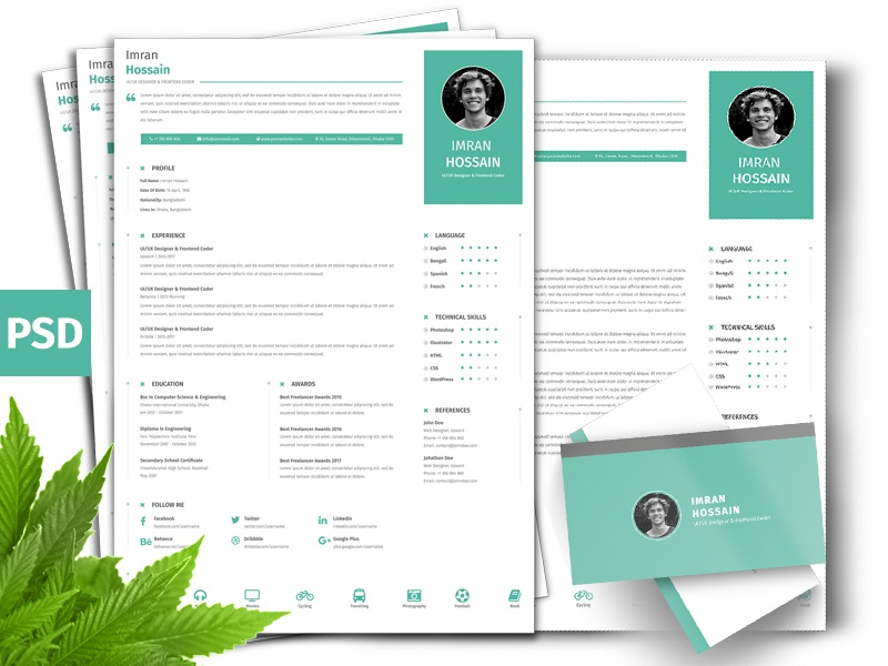 free professional resume   business card by imran hossain