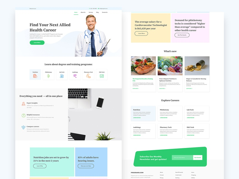 Health Career Website Design clean website ui ux job career health website ux design ui design web ui web design