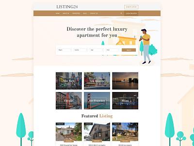 Real Esate Property Listing Website real estate branding illustration ux design ui deisgn real estate agency real esate property listing real estate