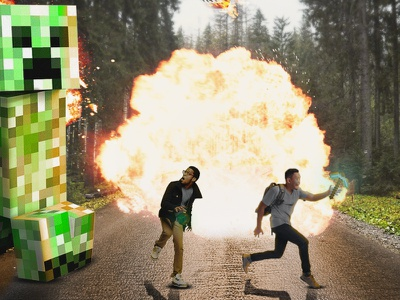 Aw man creeper! action photo minecraft photoshop art photoshop action photoshop