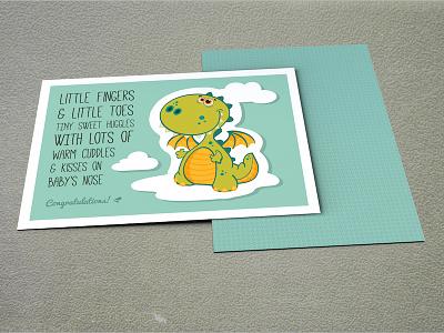 Baby Boy Postcard Design baby boy postcard greeting card notecard baby shower gift dragon cute clouds