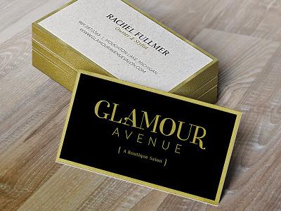 Business Card for Glamour Avenue stylist boutique logo typography black gold print biz card business card salon