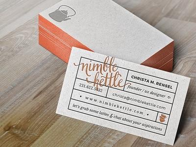 Business Card for Nimble Kettle design biz card business card retro vintage orange logo nimble cup tea teapot kettle