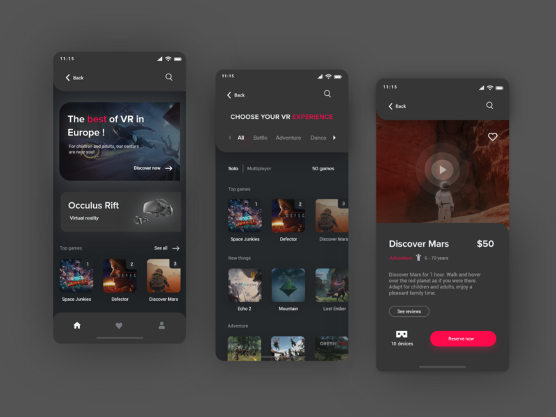 ExprVR mobile app userinterface uxdesign uxui mobile ui mobile app design dark vr mobile app mobile shot ux uidesign ui design productpage dribbble