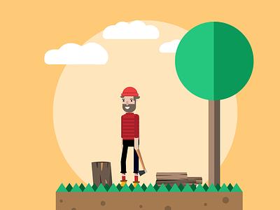 Lumberjack flatdesign forest lumberjack design uidesign vector branding dribbble illustration