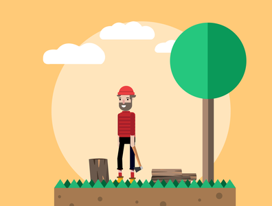 Lumberjack flatdesign forest lumberjack design uidesign vector branding dribbble illustration