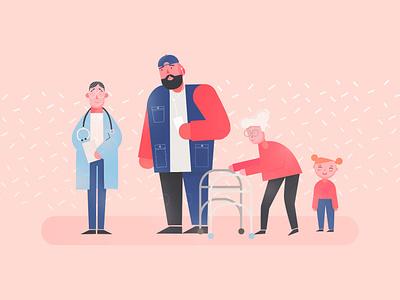 Generations illustrator middleaged young old doctor medical illustration color