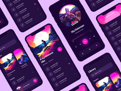 Music Player play night aesthetic 80s pink retrowave synthwave cyberpunk music app playlist music player music minimal application mobile app interface design ux ui
