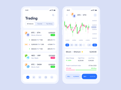 Cryptocurrency iOS app   Trading section clean ios list statistic graphic blockchain cryptocurrency ethereum bitcoin light trading crypto wallet crypto application mobile app interface design ux ui