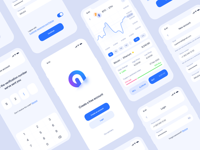 Cryptocurrency iOS app | Registration trading interface ethereum bitcoins application ios sign in signup blockchain mobile app clean cryptocurrency login registration bitcoin crypto design ux ui