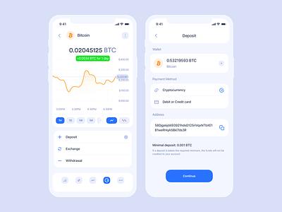 Cryptocurrency iOS app   Deposit deposit data clean statistic graphic ios trading blockchain ethereum bitcoin cryptocurrency crypto wallet crypto application mobile app interface design ux ui