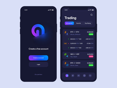 Cryptocurrency iOS app   Dark Version ethereum list deposit login screen sign in sign up dark trading cryptocurrency blockchain bitcoin crypto wallet crypto application mobile app interface design ux ui