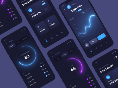Cryptocurrency application ios blockchain finance ethereum bitcoin graphic crypto exchange cryptocurrency crypto wallet crypto dark blue application clean mobile app interface design ux ui
