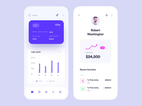 Banking application coins money profile motion animation statistic graphic bankingapp banking credit card finance application clean mobile app interface design ux ui