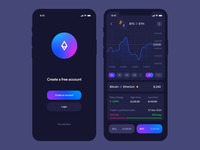 Cryptocurrency application ios blockchain finance money wallet ethereum bitcoin trading app trading crypto wallet cryptocurrency crypto application clean mobile app interface design ux ui