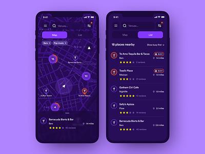 Nightlife venues searching, iOS application bar search places dark ui list map venue nightlife night club drink bars ios application clean mobile app interface design ux ui