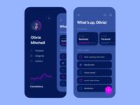 ToDo App Dark Theme todolist ios profile navigation managment task manager tasks list todo application clean mobile app interface design ux ui