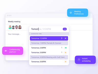Instant meeting scheduling app conference appointment schedule meeting app meetings chrome extension extension clean mobile interface app design ux ui