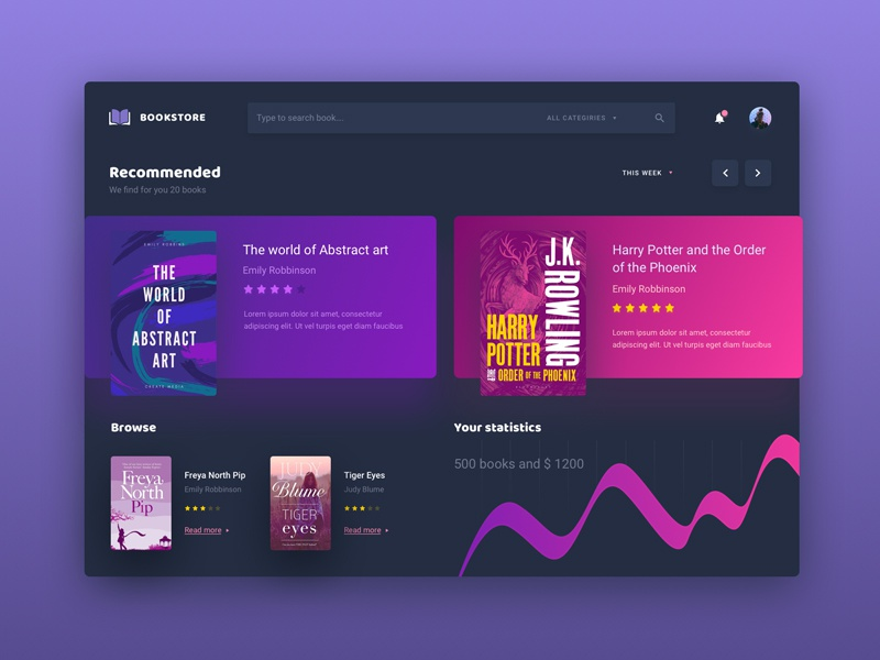 Bookstore colors interface user guides design material store book application app ux ui