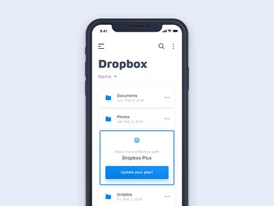 Dropbox concept blue clean catalog files dropbox ios iosdesign iphonex app mobile ux ui