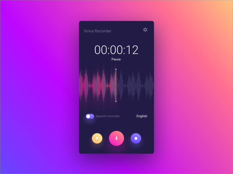 Voice Recorder play record audio voice timer colors mobile app ux ui