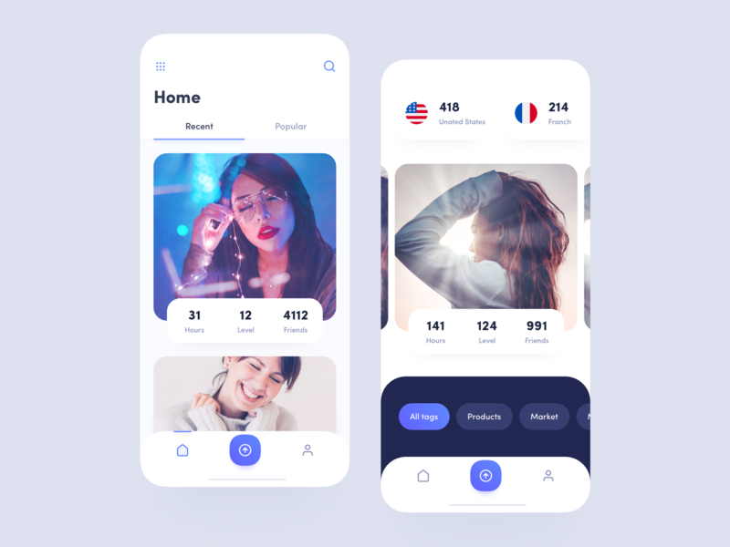 App cards white minimal blue interface clean mobile app design ux ui