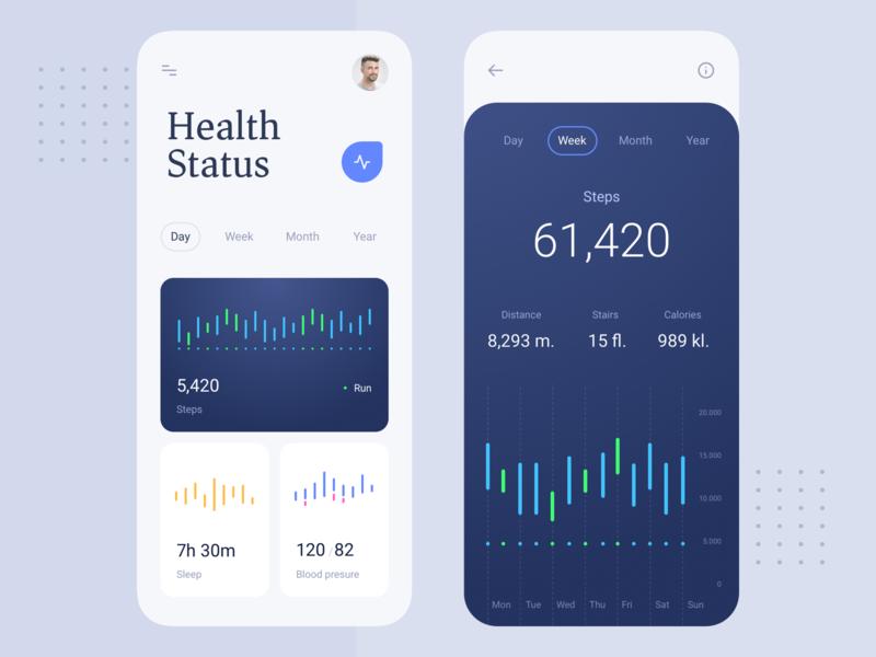 Health App statusbar sleep blood steps fitness status health minimal graph application dashboard mobile app clean design ux ui