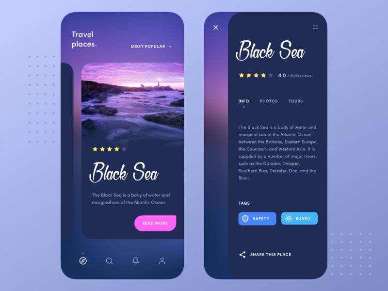 Travel places app rating ocean sea interface swipe ios application navigation ping blue dark cards card description mobile clean app design ux ui