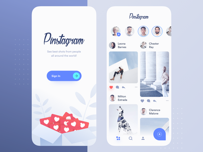 Pinstagram profile minimal blue sign in comment like pinterest instagram stories photos feed interface mobile clean app ux ui