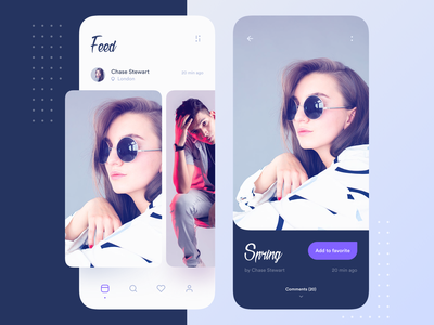 Feed blue favorites search image feed ios application interface mobile clean app ux ui