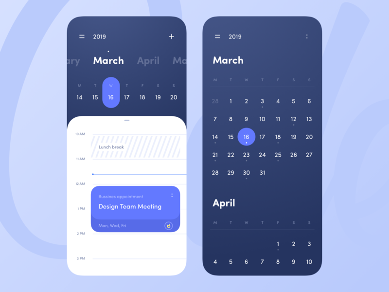 Calendar note tool team colors minimal application clean timeline event month day blue calendar mobile interface app design ux ui