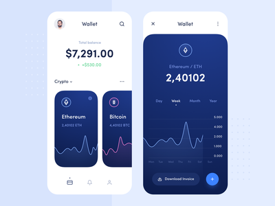 Wallet btc app clean material finance blue mobile payment dashboad ethereum bitcoin coin money wallet currency crypto application interface ux ui