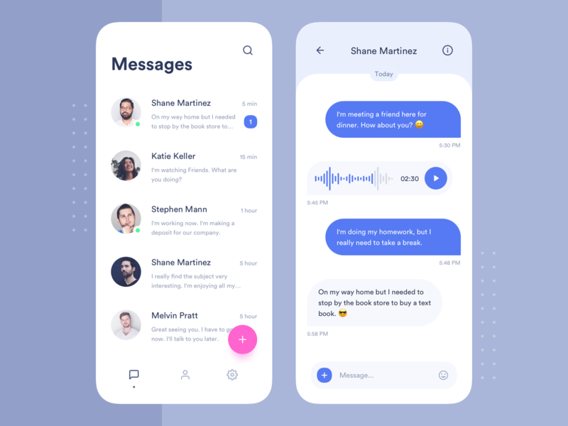 Messenger voice navigation blue user users floating button application minimal ios attachment message contacts messeger interface mobile clean design app ux ui