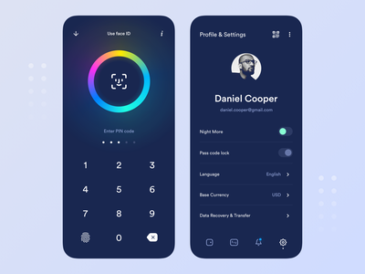 Crypto application password unlock touch id dark mobile ui application mobile cryptocurrency faceid face security code pin profile crypto interface design app ux ui