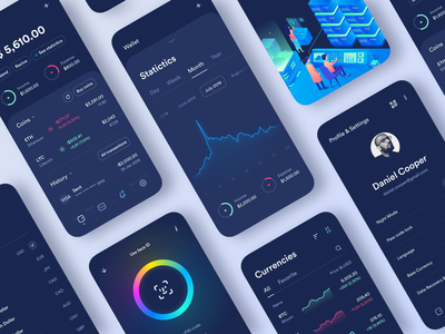 Crypto app ethereum money blockchain ios graphic wallet colors bitcoin crypto currency crypto wallet dark screens crypto mobile clean interface app design ux ui