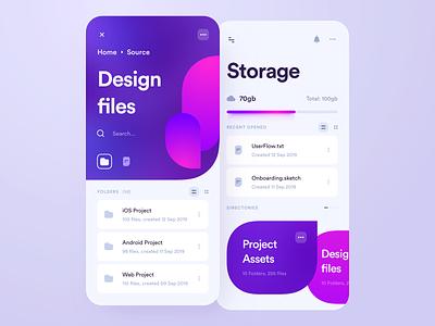 Cloud Storage App mobile ui ios cloud app files documents drive application file manager folder data disk cloud storage mobile clean app interface design ux ui