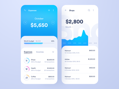 Budget Expenses transition payment banking tracker money wallet income spending stats budget expenses finance accounting blue application app interface design ux ui