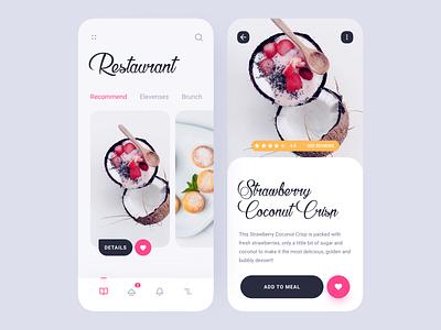 Restaurant Menu light tabs swipe red rating favorite description cards items meal restaurant menu food mobile application design app interface ux ui