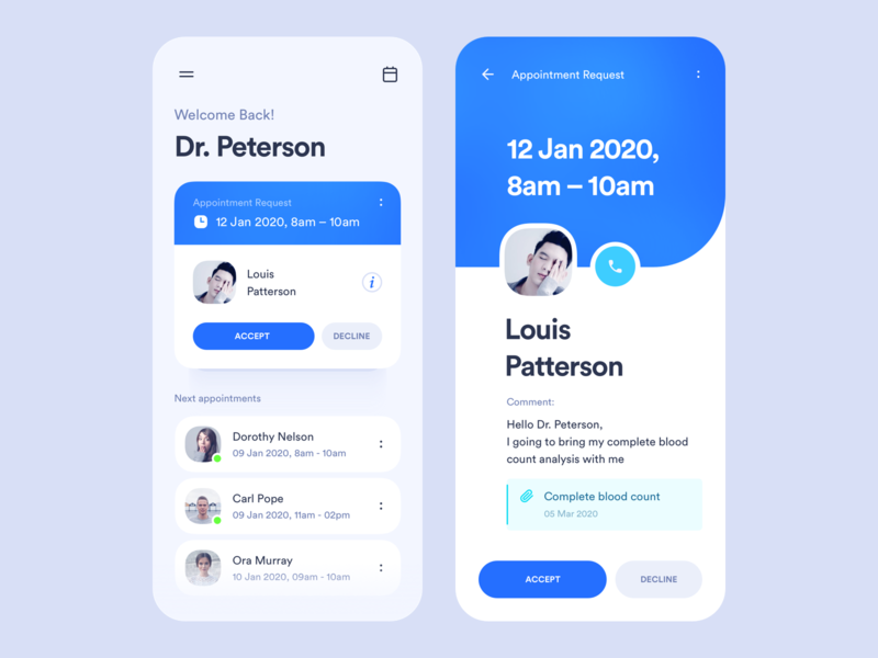 Doctor Appointments App ios schedule blue medical medicine app healthcare medicine time user card appointment doctor application mobile clean app interface design ux ui